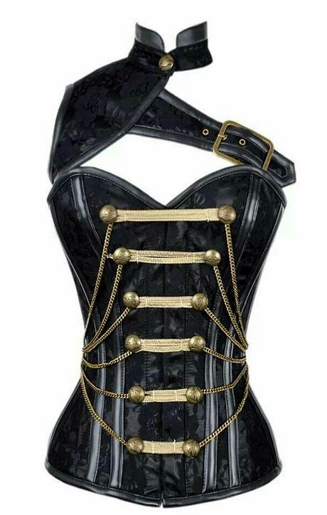 Black Satin Military Corset with Chain and PVC Detail                                                                                                                                                                                 More