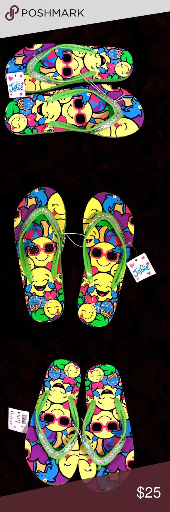 NWT ❤️ EMOJI Justice Flip Flops ❤️ NWT ❤️ EMOJI Justice Flip Flops ❤️ Sz 2/3 Justice Shoes Sandals & Flip Flops