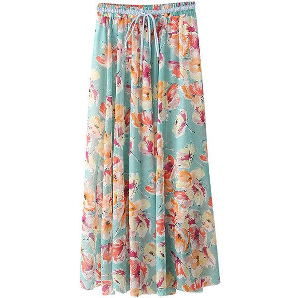 Light Blue Floral Chiffon Maxi Skirt (50 BRL) ❤ liked on Polyvore featuring skirts, bottoms, floral, light green, green skirt, green chiffon maxi skirt, long floral skirts, floral maxi skirt and chiffon maxi skirt