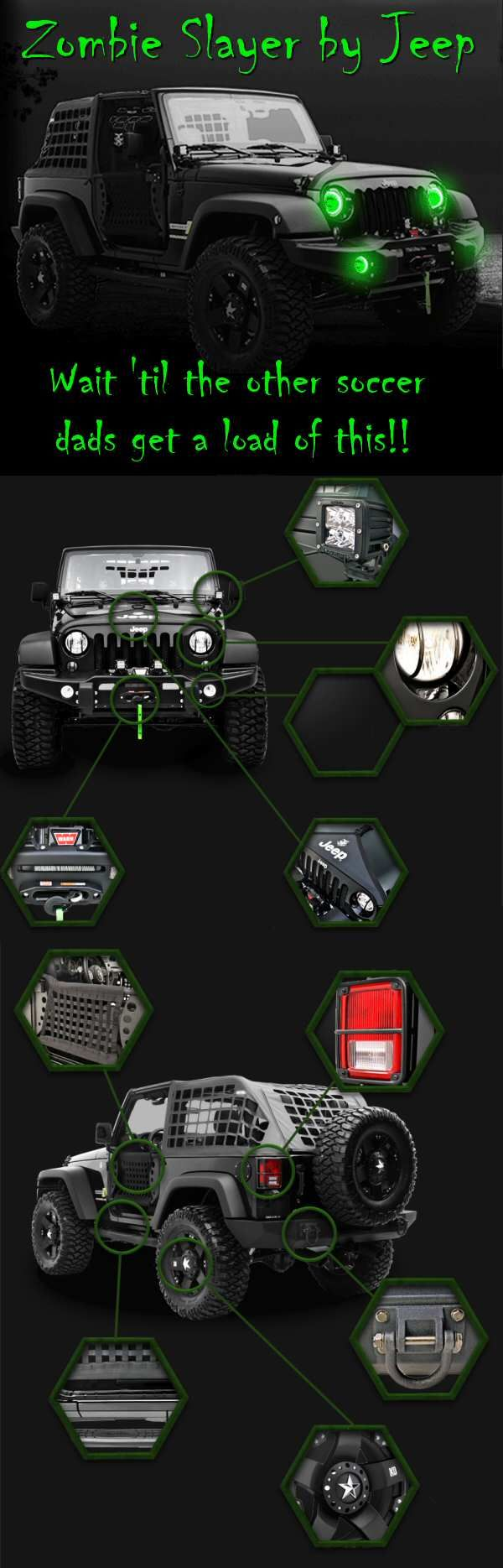 The Jeep ZS1 Zombie Slayer—Because the Zombie Apocalypse is no time to drive a Prius! This is real and I want it!