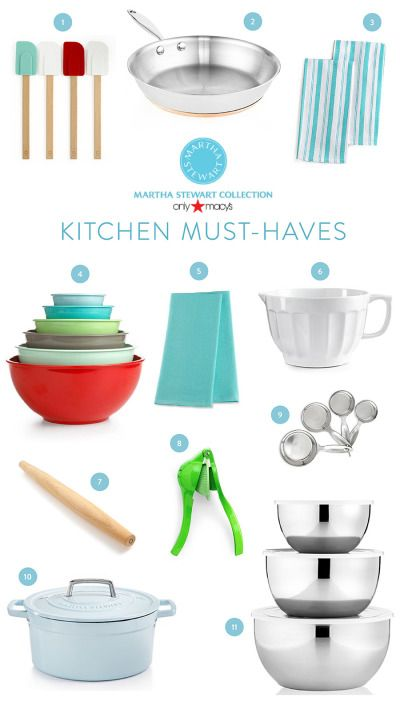 Kitchen must haves from Martha Stewart & Macy's: http://www.stylemepretty.com/living/2015/03/18/kitchen-must-haves-with-martha-stewart-collections-macys/