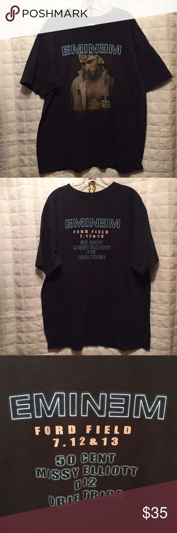 "Eminem 2003 concert shirt missy Elliott 50 cent Awesome retro tee from Eminem's early days. Great condition for its age, light fading to black, emblems/writing fully intact what a great line up. 100% cotton, 47x29"" Shirts Tees - Short Sleeve"
