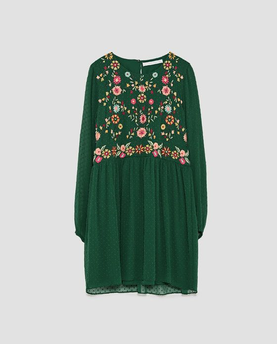 EMBROIDERED DOTTED MESH DRESS from Zara