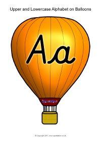 Alphabet on Balloons - Uppercase with Lowercase - Cursive (SB11932) - SparkleBox
