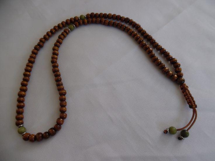 Chapelet bouddhiste Style Mala marron, perles en bois et jade. : Bijoux pour…