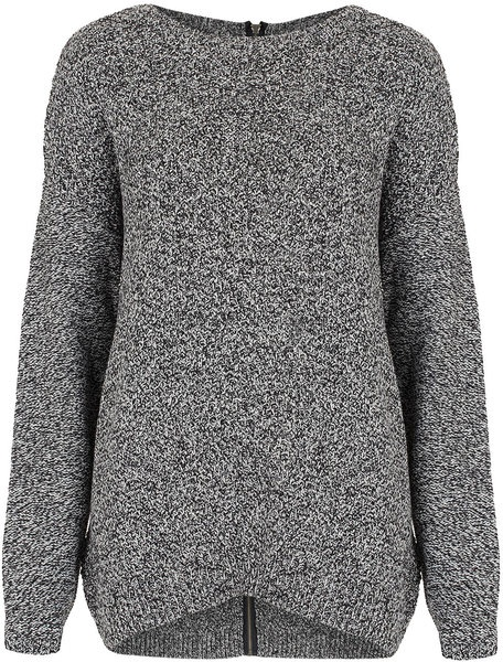 Knitted Moss Stitch Zip Jumper - Lyst
