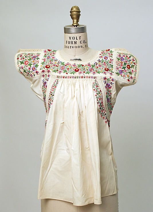 Vintage Embroidered Mexican Cotton Blouse