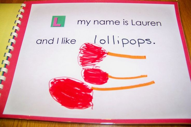 Emergent Literacy - give child a page with the beginning letter of his name -  have them draw a picture of something that starts with the same letter and have a go at writing a label for it using their burgeoning phonic knowledge.