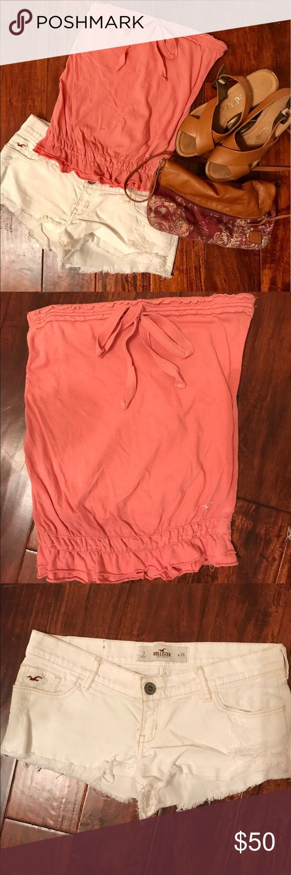 Hollister strapless tee and cut offs bundle Pink Strapless Hollister tee and white Hollister Cut off shorts. Shirt size small shorts size 26. Both in great condition. Purse and wedges not included Shorts