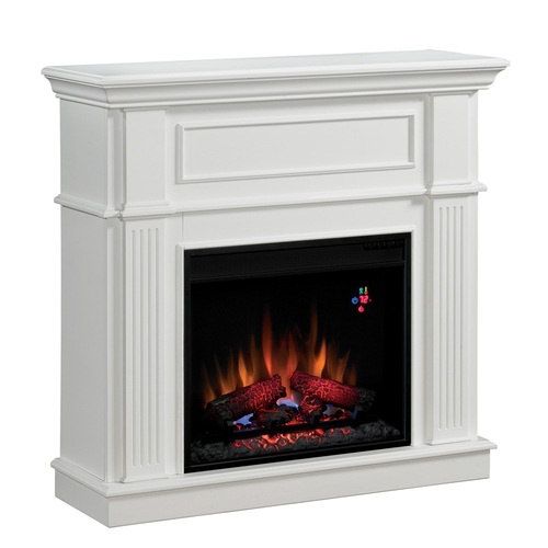 A cozy fake fireplace to snuggle up with on the rare cold days...this one is perfect!