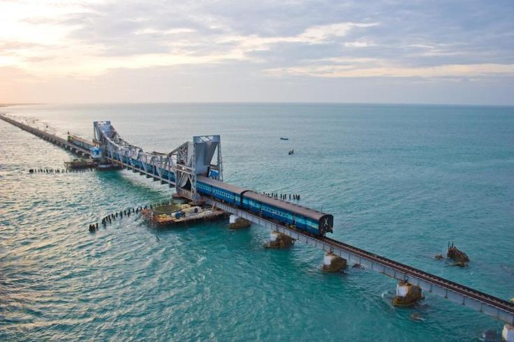 The Pamban Bridge links Rameswaram island with mainland India