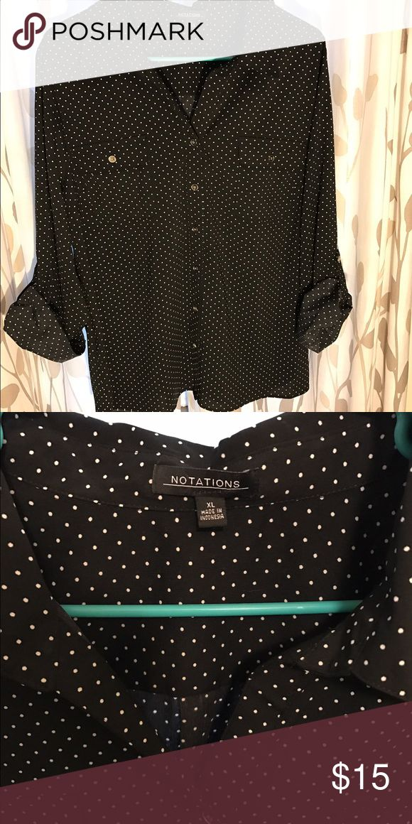 Polka dot blouse NWOT Black with white polka dots, button up. Polyester Tops Button Down Shirts