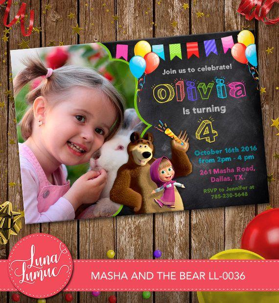 Masha y el oso invitación, Masha y el oso tarjetas invitación fiesta, fiesta imprimible, pizarra con foto LL-0036