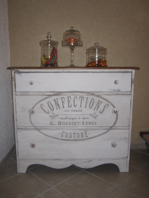 Vintage dresser painted in Old White with a dark waxed top and French Stencil on the front