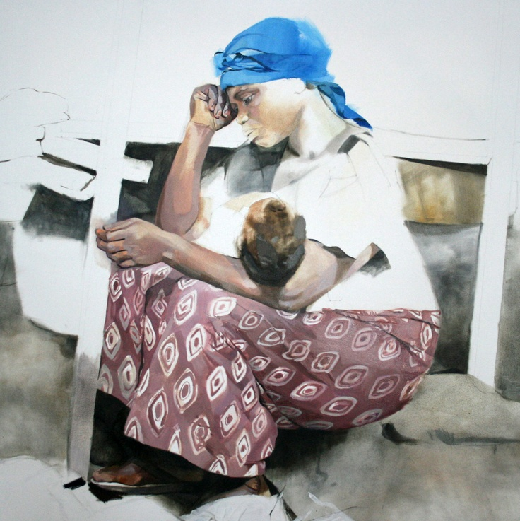 "Memoirs of Congo, Larissa Doll ""Mama in Market""   Oil on Canvas,  122cm x 122cm,  2010"