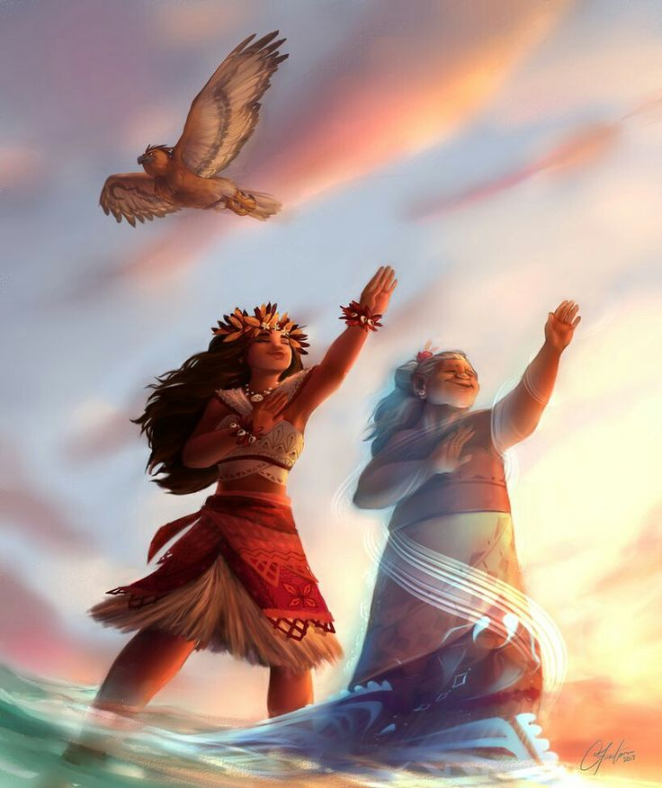 Moana, Maui and ghost of grandma Tala. Amazing fanart. Love this!