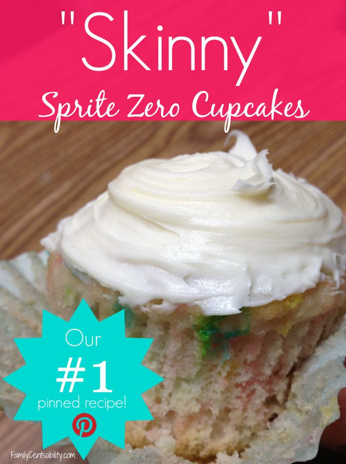 """Skinny"" Sprite Zero cupcakes are low fat, absolutely delicious, and the moistest cupcakes I have ever made!  - #1 Pinned Recipe from FamilyCentsability.com"