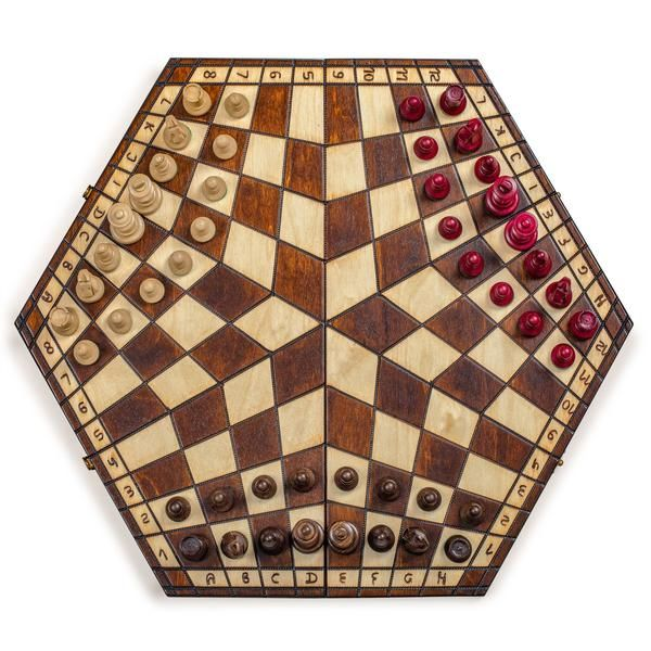 "18.5/"" Wooden Three Person Player Wooden Wood Chess"