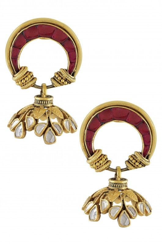 Silver Gold Plated Textured Leafy Crystal Moon Jhumka Earrings