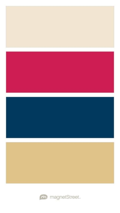 Champagne, Raspberry, Navy, and Gold Wedding Color Palette - custom color…