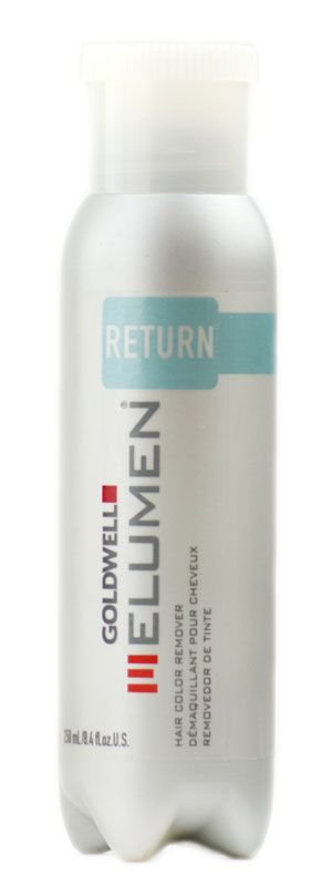 Goldwell Elumen Return is a color remover specifically designed for use with Elumen only. Reduces or removes Elumen color only. Most effective if used immediately after the Elumen application. Offers the best possible protection for the hair as it works without reducing or oxidising agents.