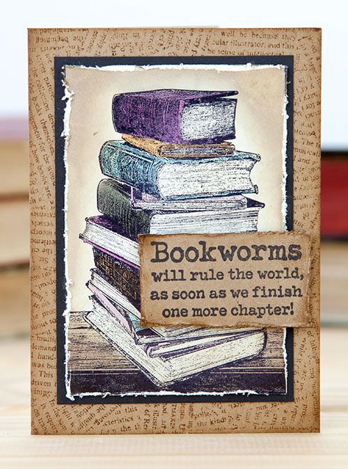 Card by Rachel Greig using Darkroom Door Book Stack Photo Stamp, Torn Text Background and Bookworm Rubber Stamp Set.