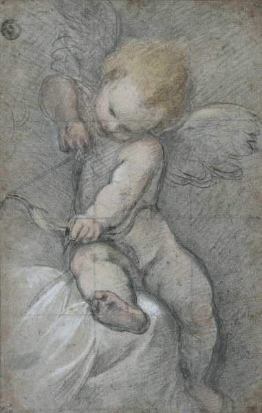 federico barocci cupid drawing his bow 1560s black chalk with pastel stumped in places heightened with white chalk squared with black chalk