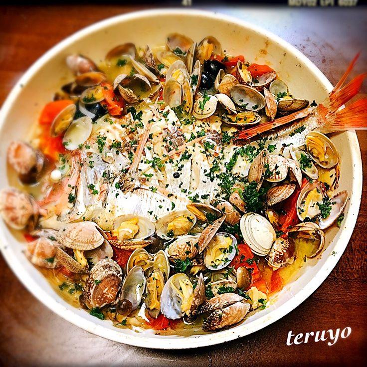 teruyo's dish photo 鯛のアクアパッツァ | http://snapdish.co #SnapDish #レシピ #晩ご飯 #魚料理