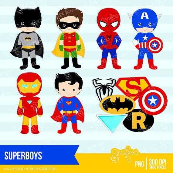 SUPERBOYS Digital Clipart ,Superhero Clipart , Super Hero Clipart  / Instant Download