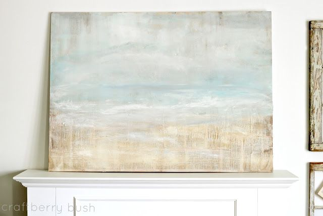 Craftberry Bush: Quick wall art tutorial.  LOVE THIS - tutorial for how to create a very simple painting to use as the background for a mantle display with old windows, glassware, beach theme.