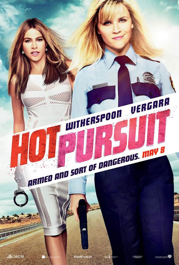 Hot Pursuit - An uptight and by-the-book cop tries to protect the outgoing widow of a drug boss as they race through Texas pursued by crooked cops and murderous gunmen.