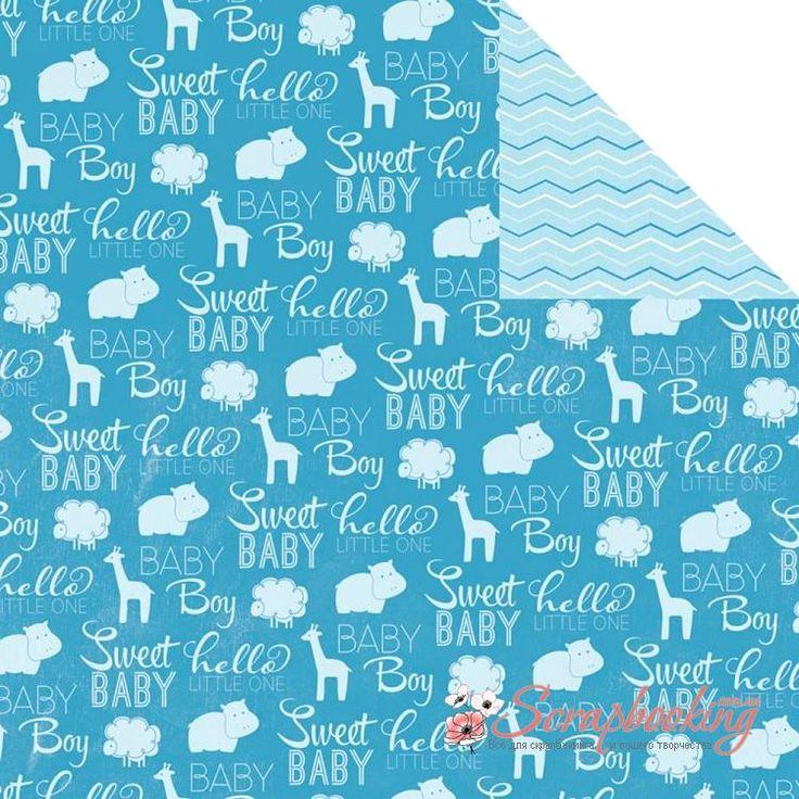 Лист бумаги для скрапбукинга Sweet Baby Boy из коллекции My Baby Boy производителя Imaginisce. Размер листа 30*30см. Плотность бумаги 180гр/м2, бумага с двусторонней печатью