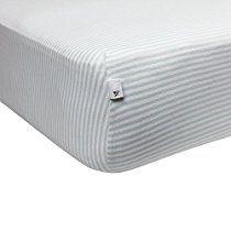Burt's Bees Baby - Bee Essentials Stripe Crib Sheet, 100% Organic Crib Sheet for Standard Crib and Toddler Mattresses (Sky)