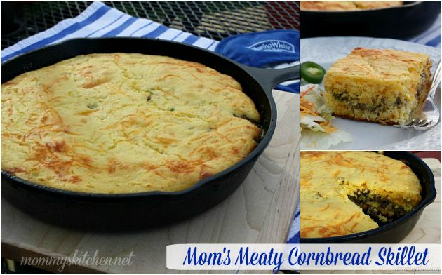 Mom's Meaty Cornbread Skillet & A Virtual Cornbread Potluck. Martha White cornbread with ground beef or sausage, corn, vegetables, and cheese make up this filling skillet meal. #cornbread #cornbreadcookoff #skilletmeal #marthawhite