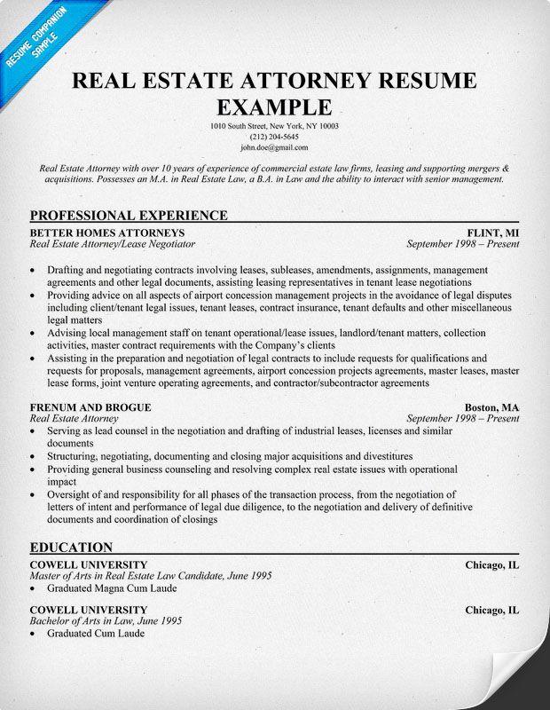 real estate attorney resume example career ladder. Black Bedroom Furniture Sets. Home Design Ideas