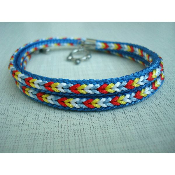 Braided bracelet Colorful bracelet Bright bracelet Kumihimo bracelet... ($12) ❤ liked on Polyvore featuring jewelry, bracelets, boho bangles, woven bracelet, tri color bangles, boho jewelry and macrame cord bracelet