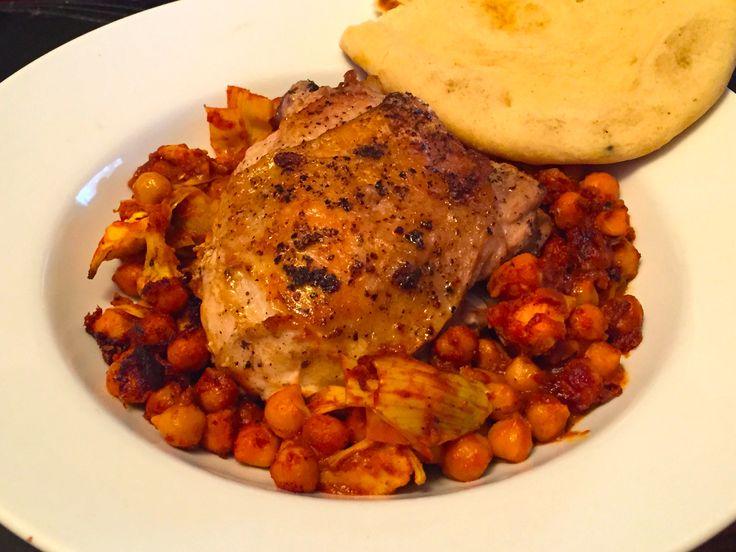 Pan Roasted Chicken with Harissa Chickpeas & Artichoke Hearts | FOOD ...