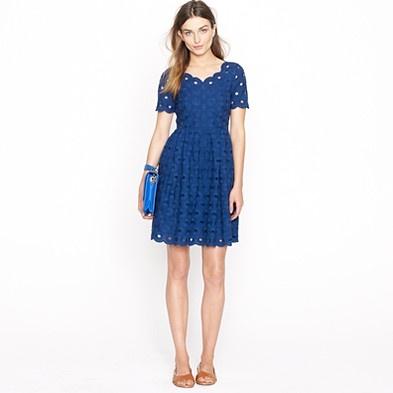 beautiful blue circle eyelet dress by jcrew
