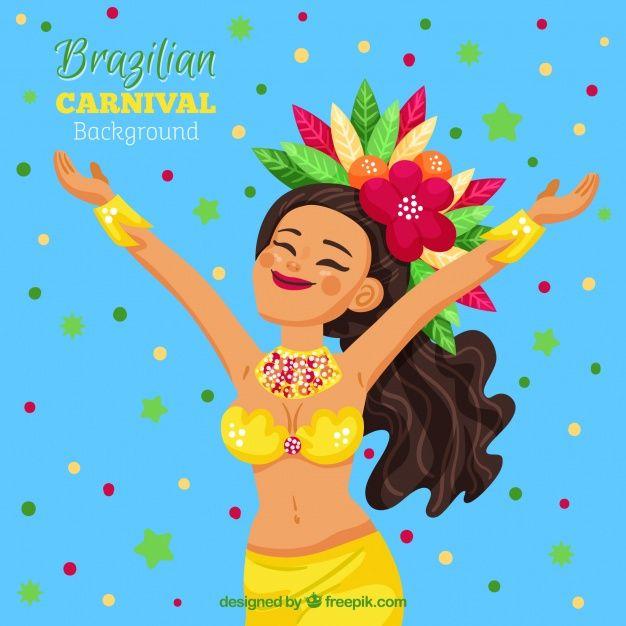 Baixe Desenho De Fundo De Carnaval Com Mulher Feliz Gratuitamente