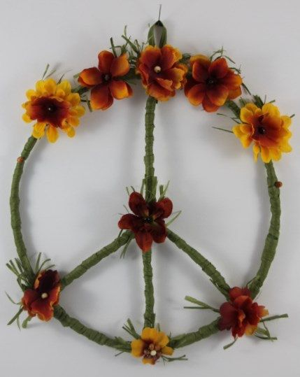 Hippie Peace Sign Wreath Hippie Home Decor an original design by Peace Petals And Pearls, $29.95