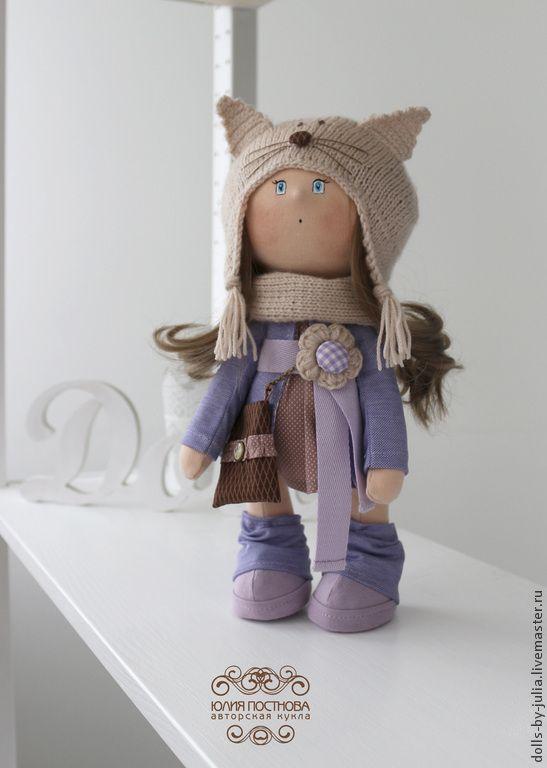 Купить Catty - сиреневый, бежевый, авторская кукла, текстильная кукла, интерьерная кукла, авторская работа