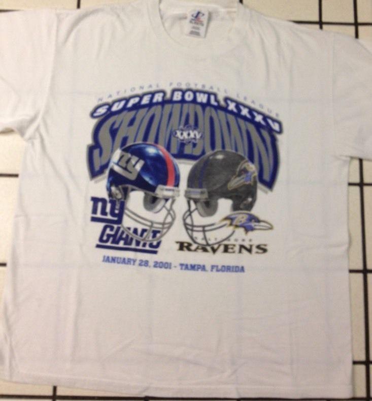 NFL Super Bowl XXXV Showdown Men's T-Shirt, Giants/Ravens, 2001 Size:XL #LogoAthletic #NYGiantsBaltimoreRavens