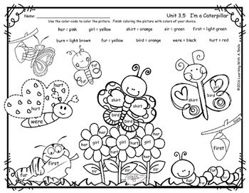 Reading Street Common Core Supplement for First Grade - I'm a Caterpillar - Unit 3.5 - Color by Word Freebie - Spelling WordsThis first grade Reading Street supplement contains the following r-Controlled ER, IR, UR spelling words: her, girl, shirt, sir, first, burn, fur, bird, were, hurt.