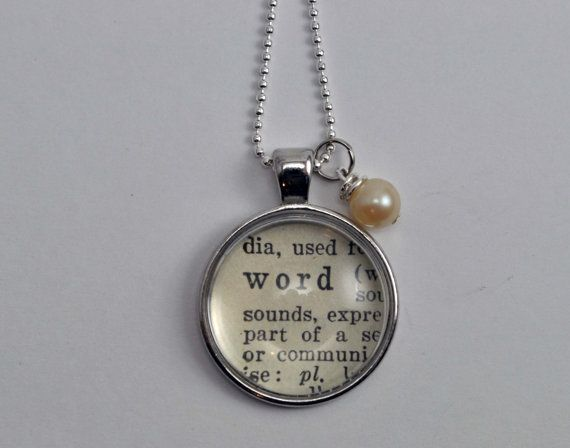 WORD of the YEAR Personalized Vintage Dictionary Word Necklace Pendant