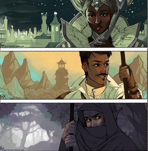 Vivienne, Dorian and Solas http://dragonaging.tumblr.com