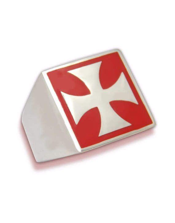 Man ring enameled with Malta cross
