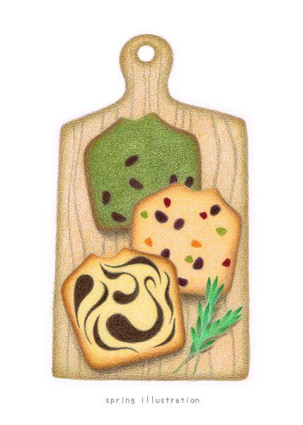 sweets illustration...matcha pound cake & fruits pound cake & marble pound cake