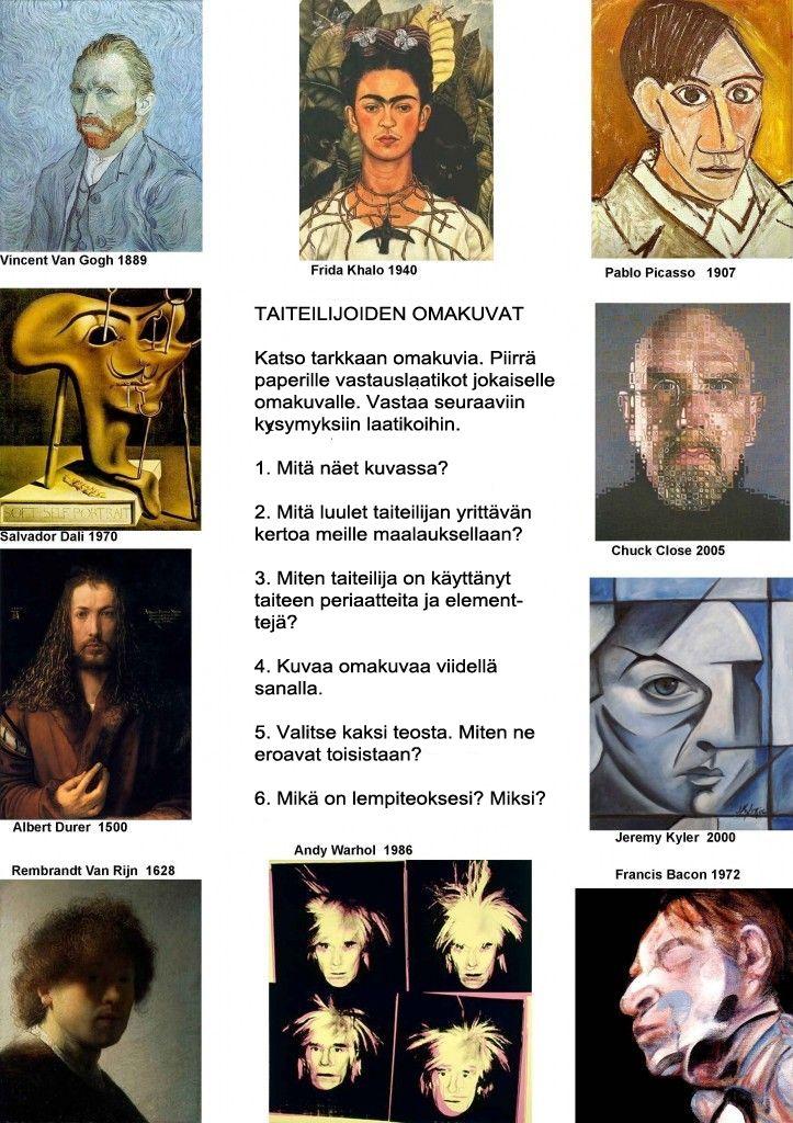 Taiteilijoiden omakuvat työsivu (suomennettu / muokattu, alkuperäinen http://jorgeleiva.edublogs.org).