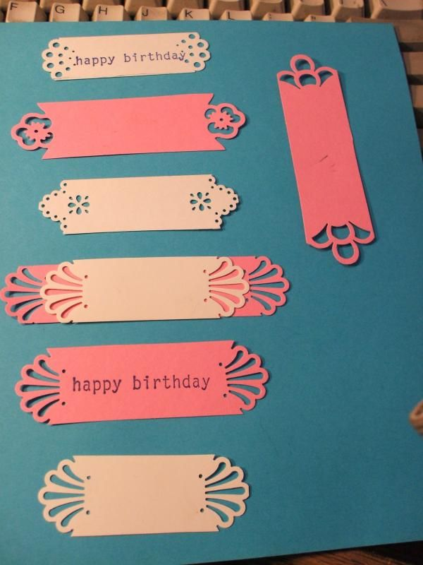 """By miss chameleon at Splitcoaststampers. Make sentiment tags by using corner punches. Deco corner uses 7/8"""" strip. Pansy and loop corner use 1 1/8"""" strips. Make them as long or short as you wish. Try layering them!"""