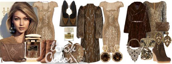 Коричнево золотое в одежде